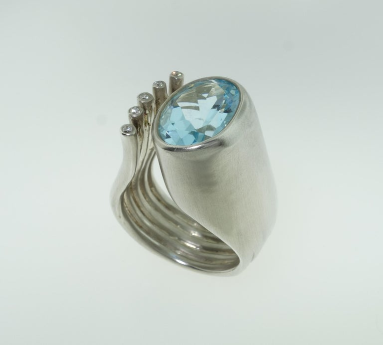 Women's 6.20 Carat Sky Blue Topaz Ring For Sale
