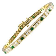 6.20 Carat Total Weight Emerald and Diamond Yellow Gold Tennis Bracelet