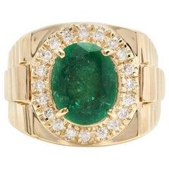 6.20 Carat Natural Emerald and Diamond 14 Karat Solid Yellow Gold Men's Ring
