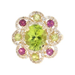 6.20 Carats Peridot Purple Garnet White Sapphire Cocktail Ring
