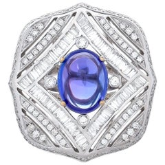 6.20 Carat Tanzanite Diamond Baguette Cocktail Ring