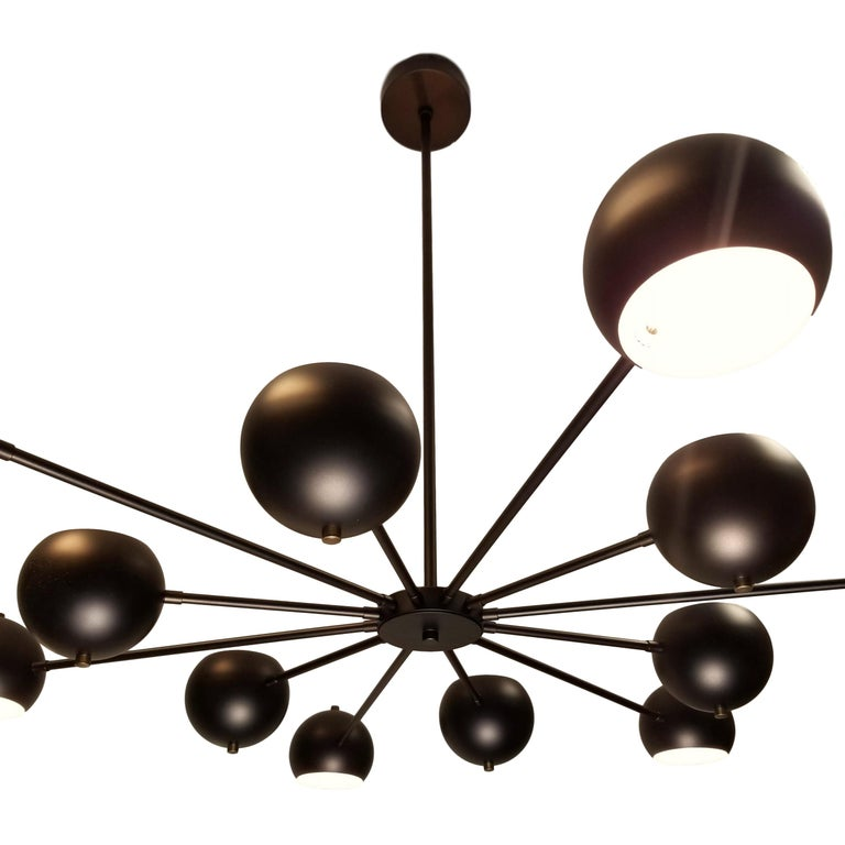 Modern Supernova Chandelier in Oil-Rubbed Bronze by Blueprint Lighting In New Condition For Sale In New York, NY