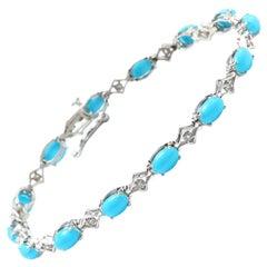 6.20 Natural Turquoise and Diamond 14 Karat Solid White Gold Bracelet