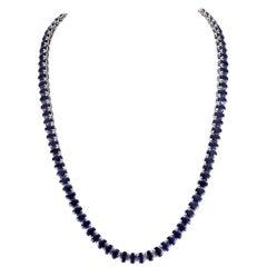 62.00 Carat Sapphire 18 Karat White Gold Necklace