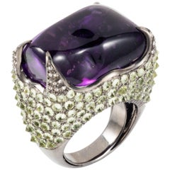 Manpriya B 62.09ct Amethyst Tumble, Peridot & Diamond Cocktail Ring