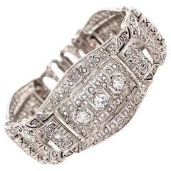 6.20tcw Diamond Platinum Art Deco Bracelet Estate Fine Jewelry
