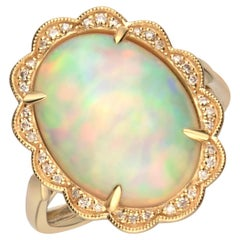 6.21 Carat African Opal 14 Karat Yellow Gold Ring