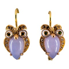 "6.21 Carat Chalcedony White Brown Diamond Tsavorite Yellow Gold ""Owls"" Earrings"