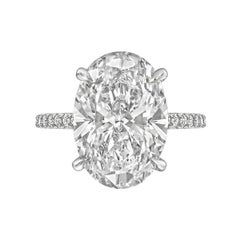 6.21 Carat Exceptional Type IIA Oval-Cut Diamond Engagement Ring