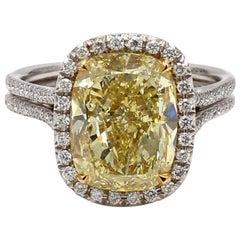 6.21 Carat Fancy Intense Yellow, Cushion Cut Diamond Ring, GIA Certified