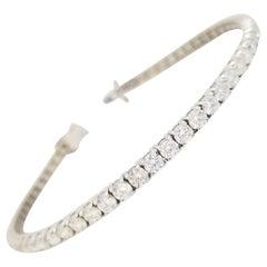 6.21 Carat Round Brilliant Cut Diamond Tennis Bracelet 14 Karat White Gold