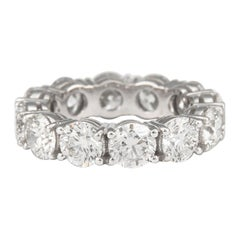 6.21 Carat Round Cut Diamond Eternity Band 'Avg 0.52 Carat Each' 18 Karat Gold