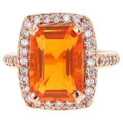 6.22 Carat Fire Opal Diamond 14 Karat Rose Gold Cocktail Ring