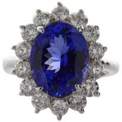 6.22 Carat Oval Cut Violet Blue Tanzanite Gemstone 14 Karat White Gold Ring