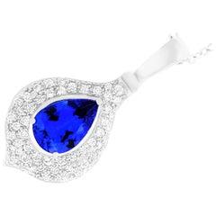 6.22 Carat Pear Shaped Tanzanite and White Diamond Pendant