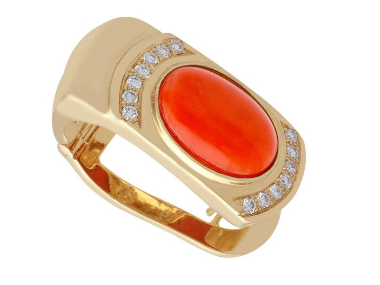 Cabochon 6.22 Carat Red Coral and Diamond Yellow Gold Earrings For Sale