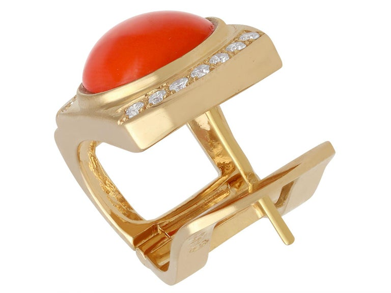Women's or Men's 6.22 Carat Red Coral and Diamond Yellow Gold Earrings For Sale