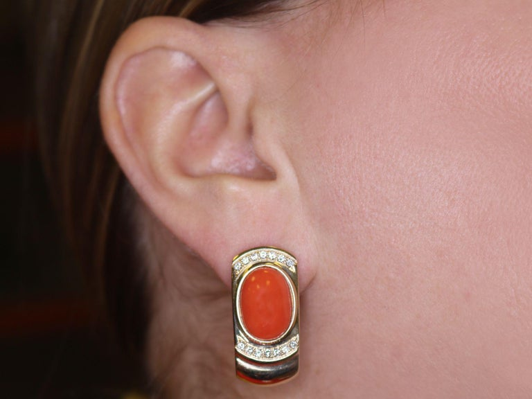 6.22 Carat Red Coral and Diamond Yellow Gold Earrings For Sale 3