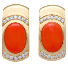 6.22 Carat Red Coral and Diamond Yellow Gold Earrings