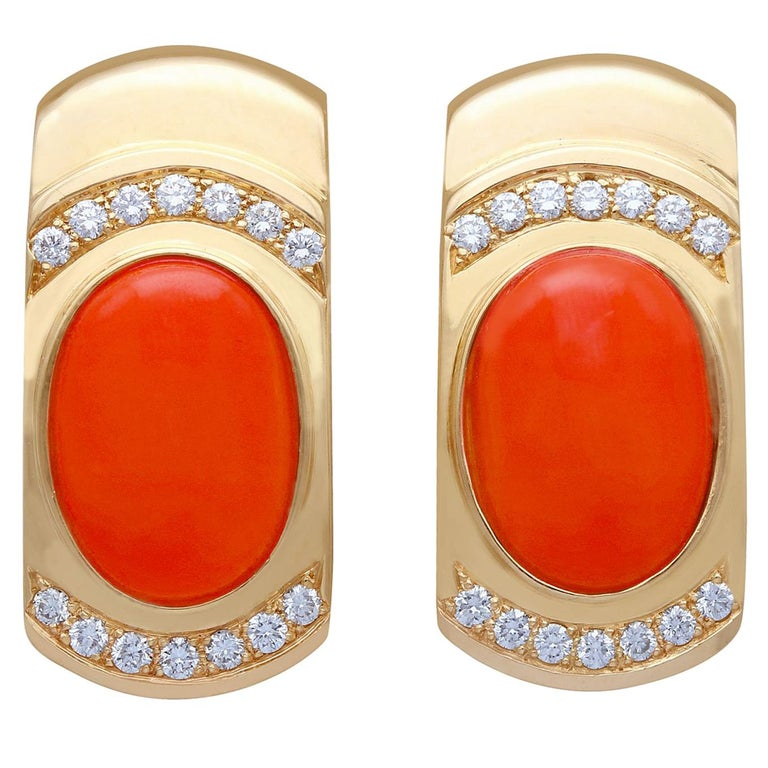 6.22 Carat Red Coral and Diamond Yellow Gold Earrings For Sale