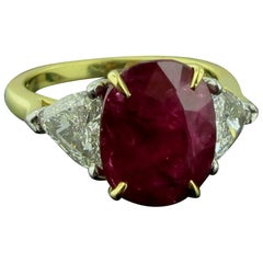 6.22 Carat Ruby and Diamond Ring in 18 Karat Yellow Gold and Platinum