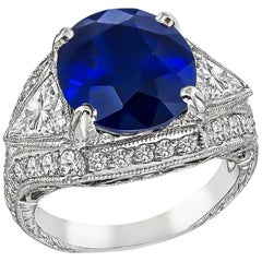 6.22 Carat Sapphire Diamond Engagement Ring