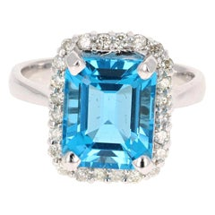 6.22 Carat White Gold Blue Topaz Diamond Cocktail Ring