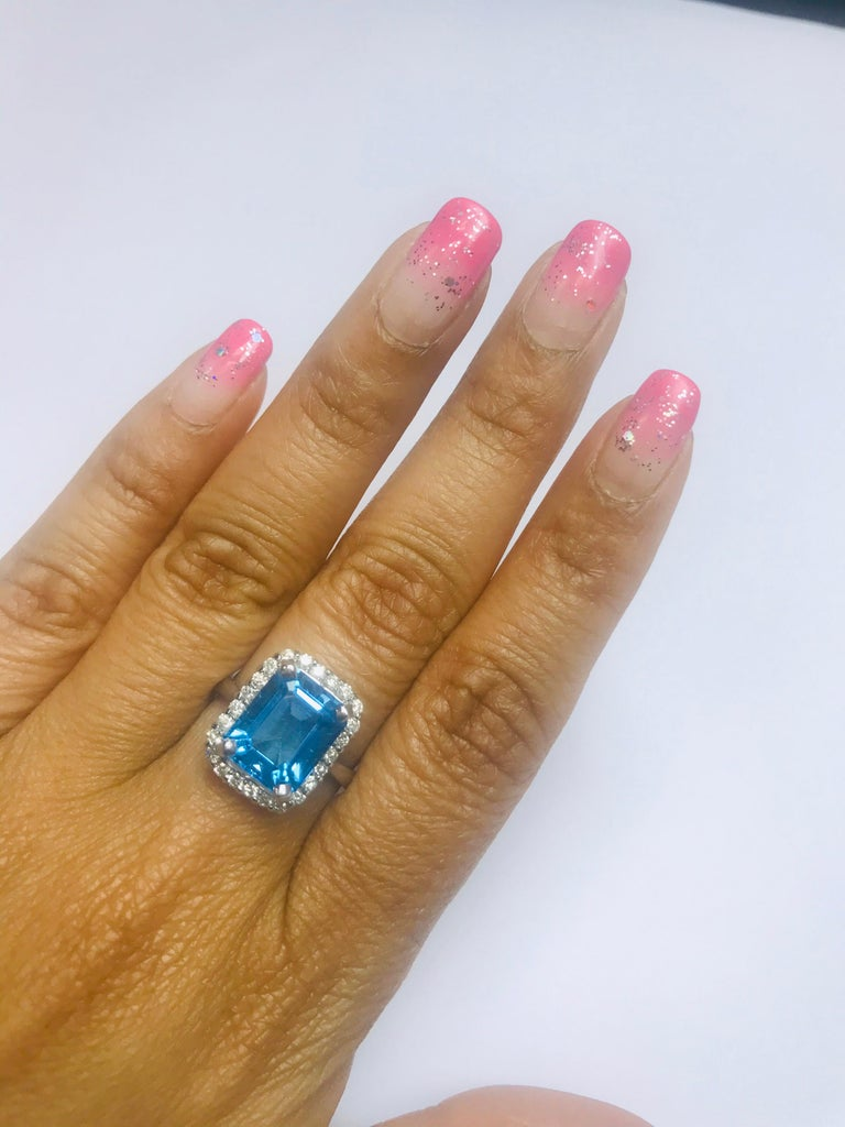 6.22 Carat White Gold Blue Topaz Diamond Cocktail Ring In New Condition In San Dimas, CA