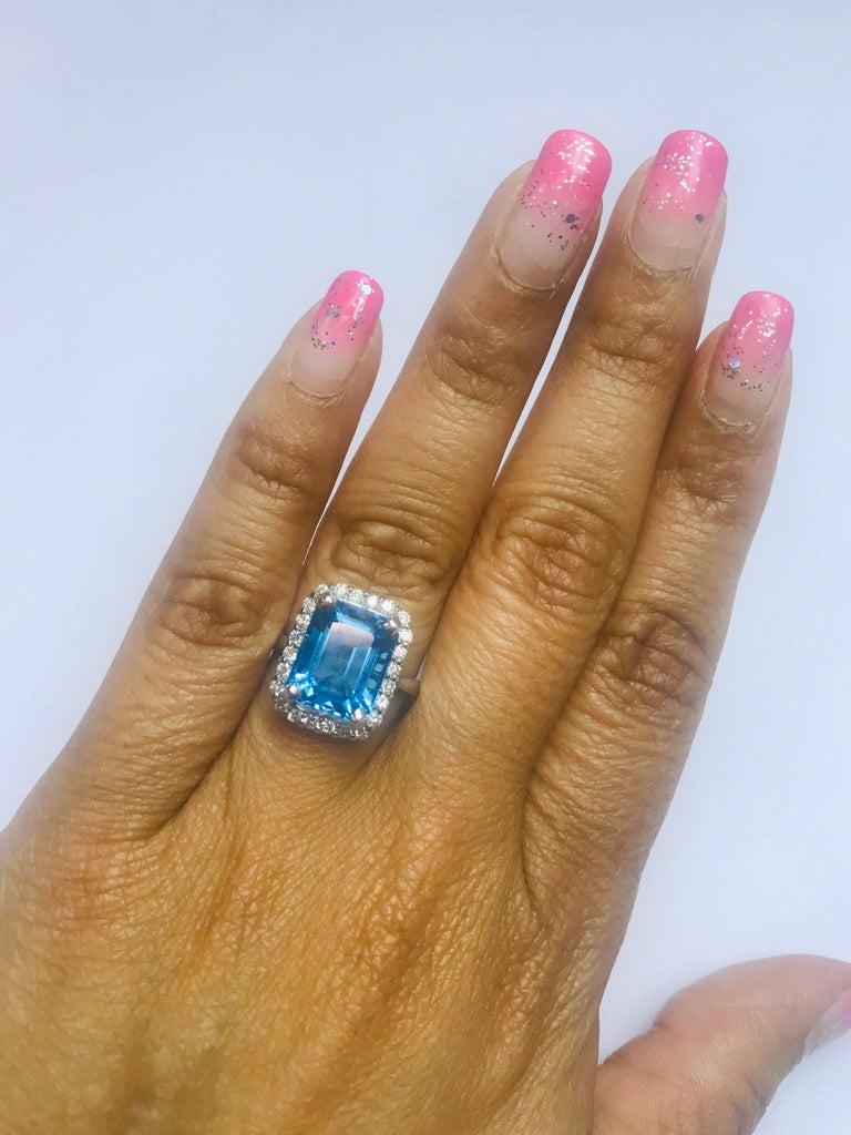 Women's 6.22 Carat White Gold Blue Topaz Diamond Cocktail Ring