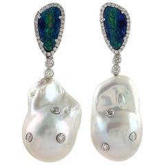 62.2 Carat Pearl Opal Diamond Earrings
