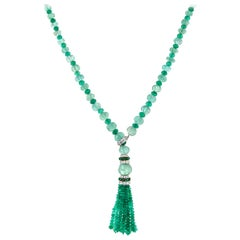 622.30 Carat Emerald and Diamond Baguette Tassel Necklace