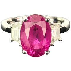 6.23 Carat Burmese Ruby and Diamond Three-Stone Engagement Ring