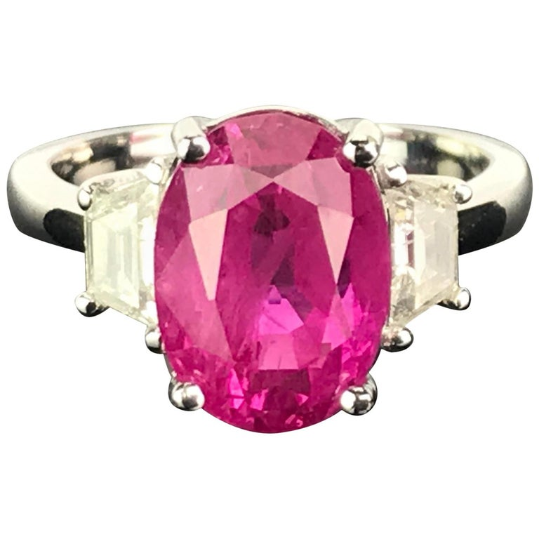 6.23 Carat Burmese Ruby and Diamond Three-Stone Engagement Ring For Sale