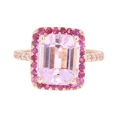 6.23 Carat Pink Morganite Sapphire Diamond White Gold Engagement Ring