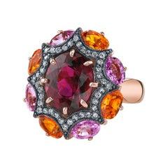 6.23 Carat Rubellite Tourmaline Diamond, Orange Pink Sapphire Gold Cocktail Ring
