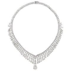 62.33 Carat Diamond Necklace 4.33 Carat Pear Diamond Drop 18 Karat White Gold