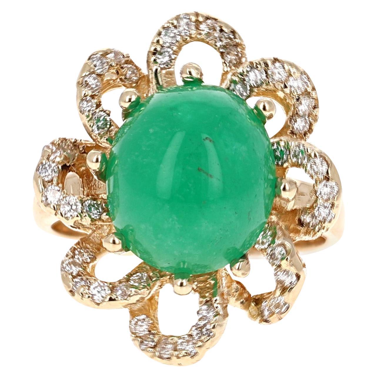 6.24 Carat Emerald Diamond 14 Karat Yellow Gold Cocktail Ring