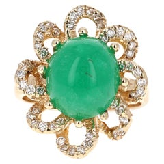 6.24 Carat Emerald Diamond 14 Karat Yellow Gold Cocktail Ring