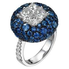 6.24 Carat Illusion Set White Diamond and Sapphire 18 Karat White Gold Ring