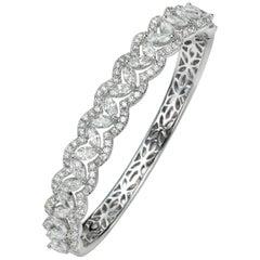 6.24 Carat Marquise and Round 18 Karat White Gold Diamond Bangle Bracelet