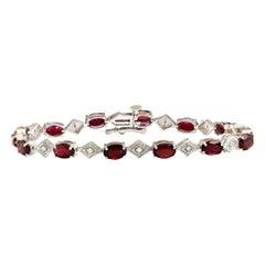 6.24 Carat Natural Tourmaline 18 Karat White Gold Diamond Bracelet