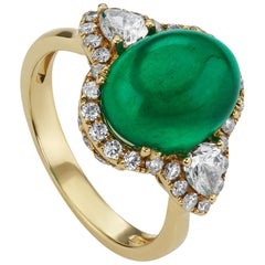 6.25 Carat African Cabochon Emerald and Diamond Cocktail Ring