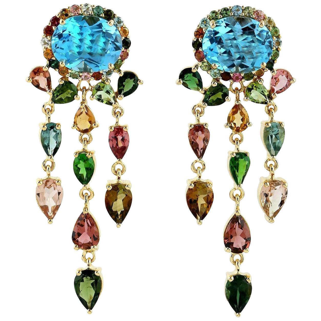 6.25 Carat Blue Topaz Tourmaline 18 Karat Gold Aura Earrings