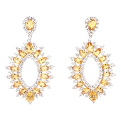 6.25 Carat Citrine White Topaz Silver Earrings