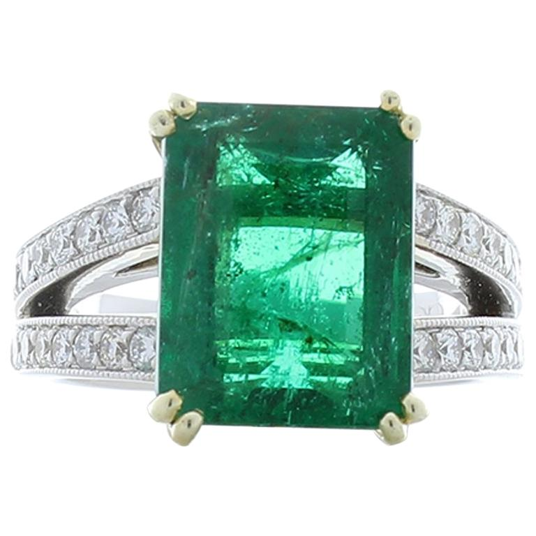 6.25 Carat Emerald Cut and Diamond Two-Tone Cocktail Ring in 18 Karat Gold
