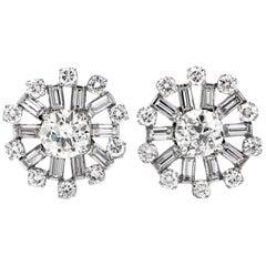 6.25 Carat European Cut Diamond Cluster Platinum Round Stud Earrings