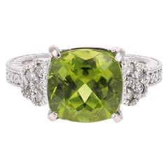 6.25 Carat Peridot Diamond 14 Karat White Gold Ring