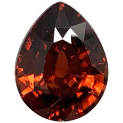 6.25 Carat Red Orange Zircon Pear Unset Loose Pendant Necklace Enhancer Gemstone