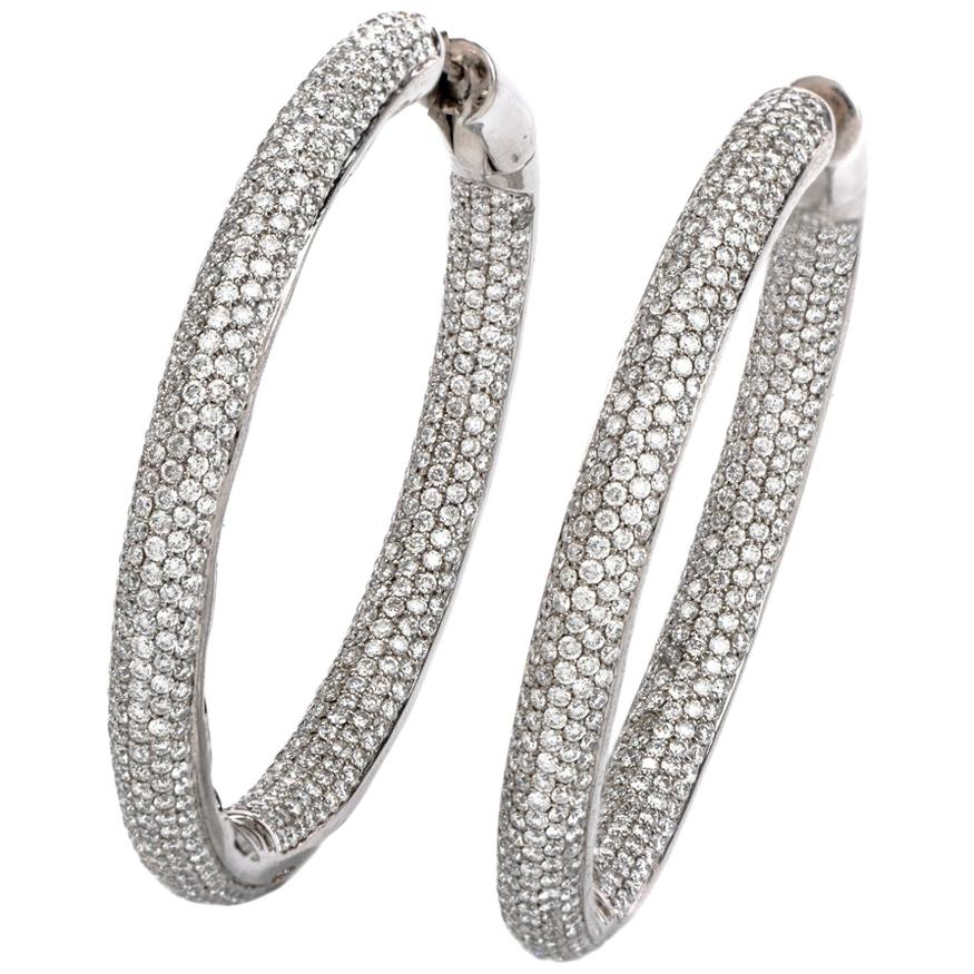 6.26 Carat Diamond Round Cut Pave Set Large 18K Gold Inside Out Hoop Earrings