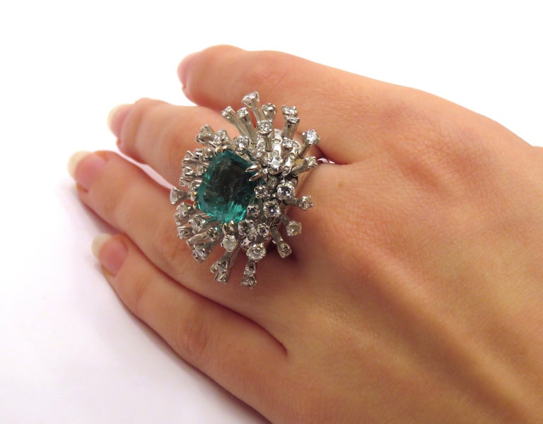 6.26 Carat Green Emerald Diamonds White 18K Gold Cocktail Ring Made In Italy For Sale 5